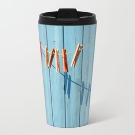 Minimalism clothesline with clips Travel Mug