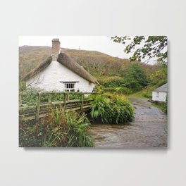 THATCHED COTTAGE BY RIVER CROSSING CORNWALL Metal Print