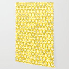 Retro Flower Pattern Yellow Wallpaper