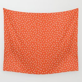 tiny white flowers on red Wall Tapestry