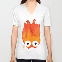 calcifer V-neck T-shirts featuring Calcifer's Curse by HSuits
