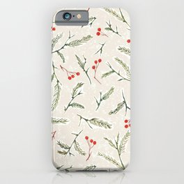 Christmas Pine and Berries Neutral iPhone Case