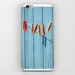 Minimalism clothesline with clips iPhone Skin
