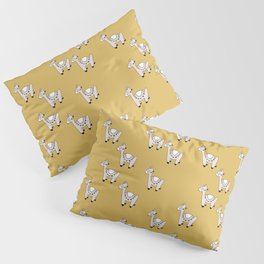 Cute little baby Llama alpaca illustration pattern neutral nursery ochre yellow Pillow Sham