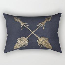 Arrows Gold Copper Bronze on Navy Blue Rectangular Pillow