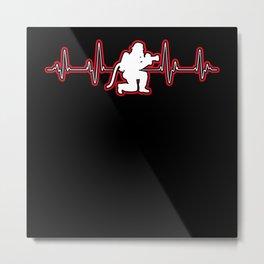 Heartbeat Firefighter lovers Metal Print