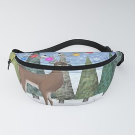 Christmas deer and chickadees Fanny Pack
