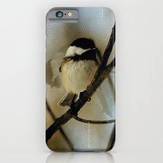 Black Capped Chickadee in motion with speckles iPhone 6s Slim Case