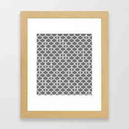 Strict Mermaid Scales Grey Framed Art Print