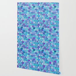 Colorful Blues Mermaid Scales Wallpaper