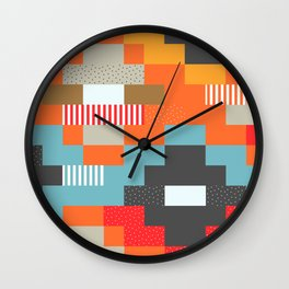 Colorful rectangles with dots Wall Clock