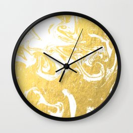 Suminagashi spilled ink gold marble marbled pattern japanese minimalist nursery dorm college Wall Clock