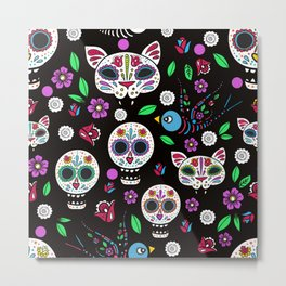 Color Crazy Sugar Skulls Metal Print