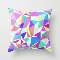 jenna kutcher Throw Pillows featuring Wooden Geo Pastel by Jenna Mhairi