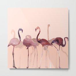 Summer Flamingos Metal Print