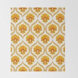 Ivory, Orange, Yellow and Brown Floral Retro Vintage Pattern Throw Blanket