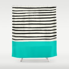 Aqua & Stripes Shower Curtain