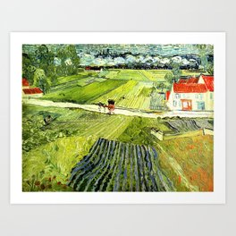 Landscape with Carriage and Train in the Background by Vincent van Gogh - Vintage Painting Art Print