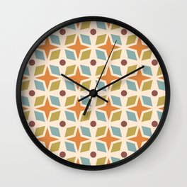 Mid Century Modern Abstract Star Dot Pattern 441 Orange Brown Blue Olive Green Wall Clock