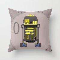 r2d2 Throw Pillows featuring R2D2 by Meg Gerena