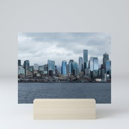 Seattle Skyline View from Bainbridge Island Ferry Mini Art Print