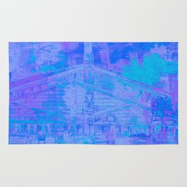 Totem Pole Cabin Abstract - Blues & Purples Rug