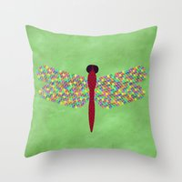 dragonfly Throw Pillows featuring Dragonfly by Artbrightcy
