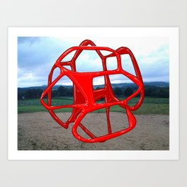 Red Sphere - Sculpture Implants Series Art Print