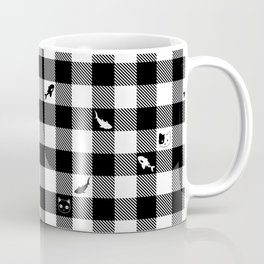 Black and White Checkered Animals Coffee Mug