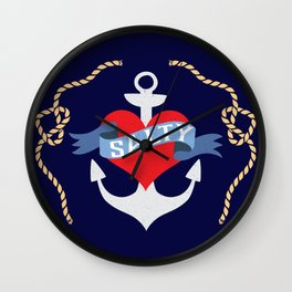 Old Salt Sailor Heart Wall Clock