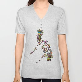 7,107 Islands | A Map of the Philippines Unisex V-Neck