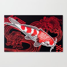 Koi with Chrysanthemums Canvas Print