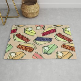 Easy As Pie - cute hand drawn illustrations of pie on neutral tan Rug