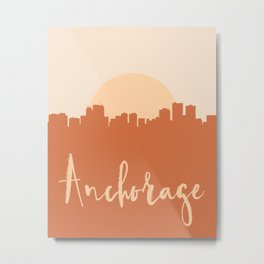 ANCHORAGE ALASKA CITY SUN SKYLINE EARTH TONES Metal Print