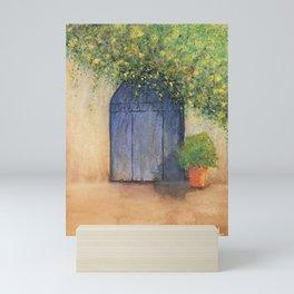 Rustic Door with Flowers, watercolor painting Mini Art Print