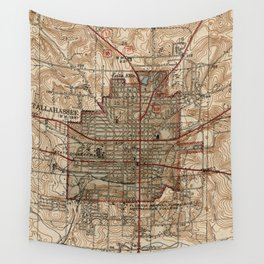 Vintage Map of Tallahassee Florida (1940) Wall Tapestry