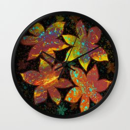 Dirty Pour Flowers Wall Clock