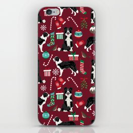 Border Collie christmas stockings presents holiday candy canes dog breed pattern iPhone Skin