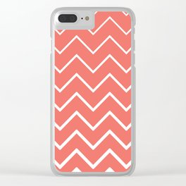 Living Coral and White Zigzag Chevron Pattern Clear iPhone Case