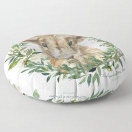 Highland Calf Floral Wreath Floor Pillow