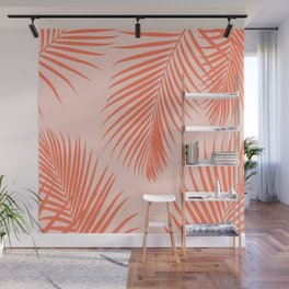 Coral Palms ~ Summer Tropical Pattern Wall Mural