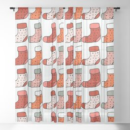 Christmas Stockings Red #Christmas #Holiday Sheer Curtain