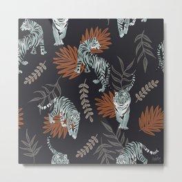 Strolling Tigers Pattern - Midnight Blue Metal Print