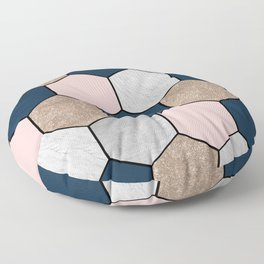 Navy and peach marble and foil hexagons Floor Pillow