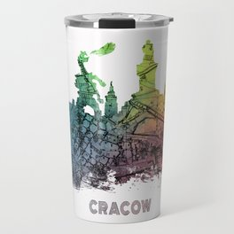 Cracow City Skyline  map #krakow #cracow Travel Mug