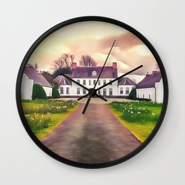 Springhill house, Moneymore, Ireland. (Painting.) Wall Clock