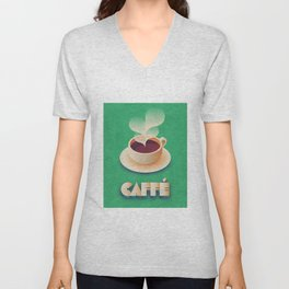 Art Deco Vintage Retro Coffee - Green Unisex V-Neck