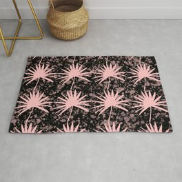 Tropical rainforest with watercolor splash. Exotic big pale dusty rose color leaf silhouettes distressed lovely modern dark moody design. Gift ideas for nature lovers. Botanical pattern. Rug
