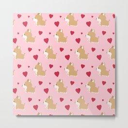 Corgi love - Pink Metal Print