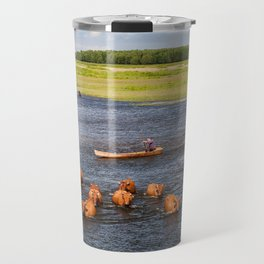 Natural bucolic view in Biebrza wetland Travel Mug